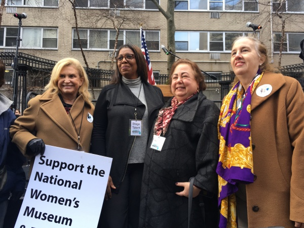Congresswoman Carolyn Maloney, Public Advocate Tish James, State Senator Liz Krueger and Manhattan Borough Gale Brewer (Photo by Larson Binzer)