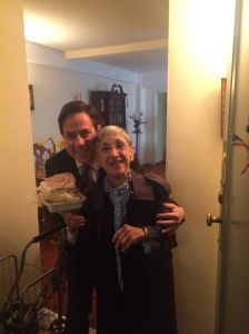 Council Member Dan Garodnick tagged along on a recent Citymeals-on-Wheels delivery to some of his neighbors, including Ellen Fidelman (pictured). Seventy recipients of the regular meal deliveries live in Stuyvesant Town/Peter Cooper Village.  (Photo courtesy of Council Member Dan Garodnick)