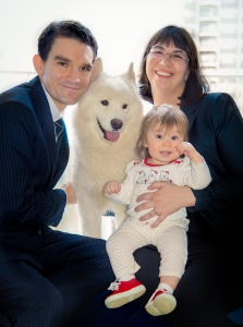 Bessie Schachter with her husband Cory Evans, their daughter Jessica and their dog Varessa
