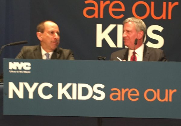 ACS Commissioner David Hansell, with Mayor Bill de Blasio Photo by Sabina Mollot)