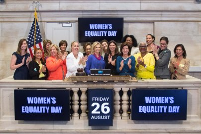 Congresswoman Maloney, pictured at center with other female elected officials at the Stock Exchange on Women's Equality Day last August (Photo courtesy of Carolyn Maloney)