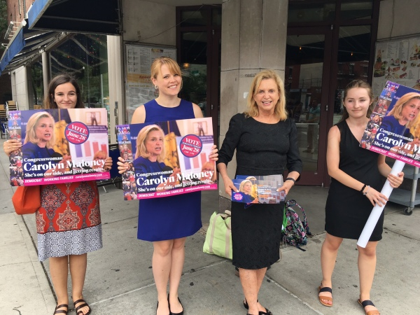 Congresswoman Carolyn Maloney, pictured at center campaigning last June in Stuyvesant Town, said candidates need to be prepared for constant battle. (Photo by Sabina Mollot)