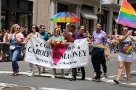 City Council candidate Keith Powers walks with Congresswoman Carolyn Maloney