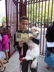 Andrew Damaso, high school freshman and Stuyvesant Town resident, receives a certificate for his dog Bella.