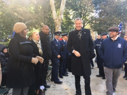 Mayor Bill de Blasio with Public Advocate Tish James and Borough President Gale Brewer