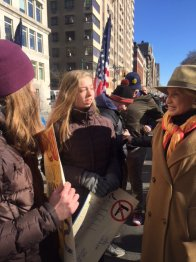 Congresswoman Carolyn Maloney talking to students at the New York march (Photo by Jamilla Uddin)