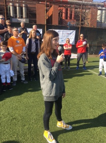 Claire O'Connell sings the National Anthem.