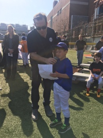PSLL President Seth Coren with James Shaw reading the Little League Pledge
