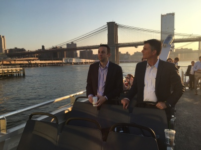 Council Member Keith Powers and Stuyvesant Town General Manager Rick Hayduk take the LES route's first ferry ride.