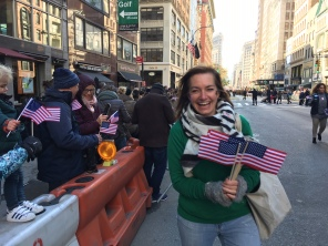 woman with flags