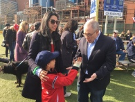 Huma Abedin with her son and Comptroller Scott Stringer